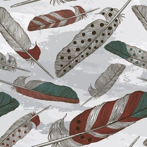 Boho Feather Pattern on Grey Watercolour