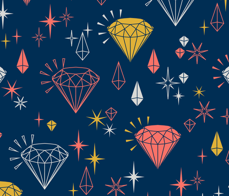 Sparkling Gemstones fabric by peartreetrail on Spoonflower - custom fabric