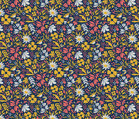 FLORAL CORAL fabric by lynnpriestleydesign on Spoonflower - custom fabric
