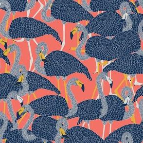 Island Flamingos on Coral - Medium