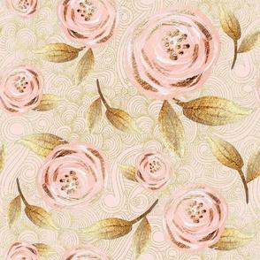 blush floral rose swirls gold glitter large size