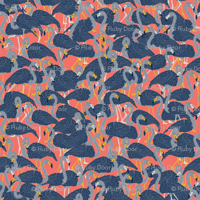 Island Flamingos on Coral - Large
