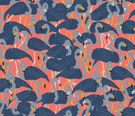 Island Flamingos on Coral - Large fabric by rubydoor on Spoonflower - custom fabric