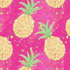 Pineapple on glittered Pink