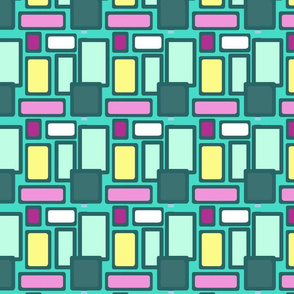 Turquoise, pink, yellow squares