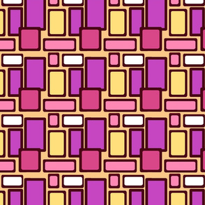 Pink, fuchsia, yellow squares, shapes