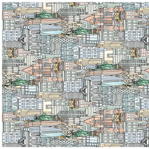 New York watercolor tea towel