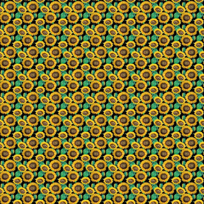 seamless pattern of watercolor sunflowers with green leaves blek