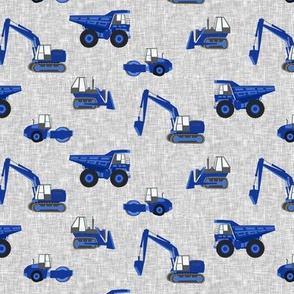 "(1"" scale) construction trucks - blue on grey linen C19BS"