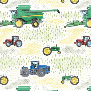 Large Scale Watercolor Tractors on White