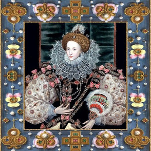 2 Queen Elizabeth 1 inspired princesses Queens renaissance Tudor big lace ruff collar baroque pearls black gown crowns tiaras pink bows england fans flowers floral frame border rubies ruby mutton sleeves puffy sleeves Britain beauty Elizabethan era 16th c