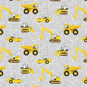 "(1"" scale) construction trucks - yellow on grey linen C19BS"