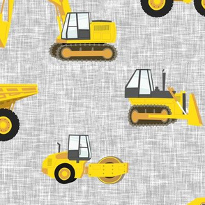(large scale) construction trucks - yellow on grey linen C19BS