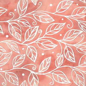 Abstract branches and leaves on coral watercolor texture