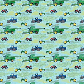 Small Scale Watercolor Tractors on Blue