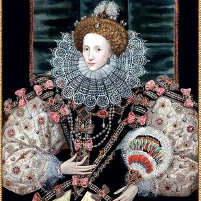 1 Queen Elizabeth 1 inspired princesses Queens renaissance Tudor big lace ruff collar baroque pearls black gown crowns tiaras pink bows england fans frame border rubies ruby mutton sleeves puffy sleeves Britain beauty Elizabethan era 16th century 17th cen