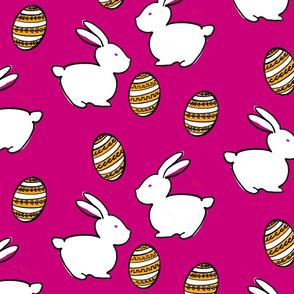 Easter Bunnies & Eggs - Fuchsia