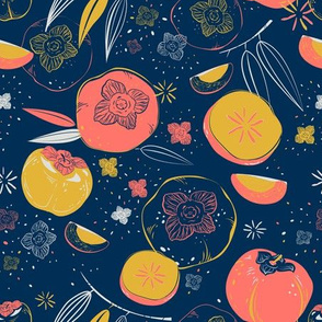 Persimmon fruits pattern