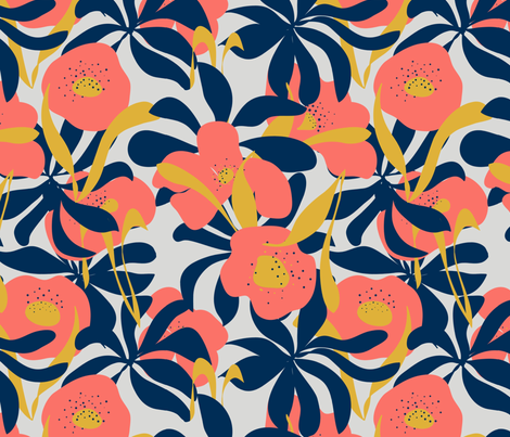 Coral Poppies fabric by jenniejoyce on Spoonflower - custom fabric