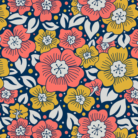 Floral limited color fabric by julistyle on Spoonflower - custom fabric