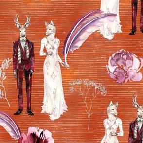 ANIMALS IN LOVE  WEDDING DEER FOX WATERCOLOR BURNT ORANGE