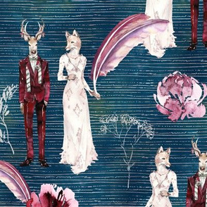 ANIMALS IN LOVE  WEDDING DEER FOX WATERCOLOR PETROLEUM BLUE