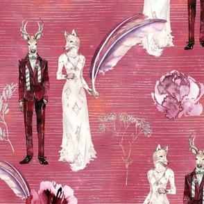 ANIMALS IN LOVE  WEDDING DEER FOX WATERCOLOR PINK CORAL