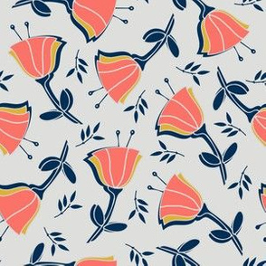 coral tulips with mustard, navy and gray