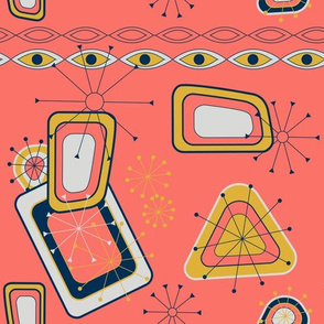 MMis century design on a coral background