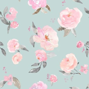 Cute Blue and Pink Floral Wallpaper