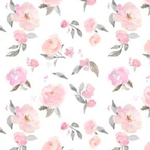 Pink and Gray Pastel Floral Wallpaper