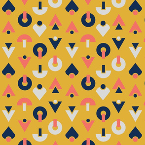 Gold, Coral, Navy Abstract Shape