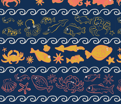 Wonderful Sealife!  fabric by ksharpstudio on Spoonflower - custom fabric