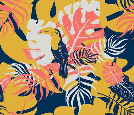 Coral Amazon fabric by dorinus_illustrations on Spoonflower - custom fabric