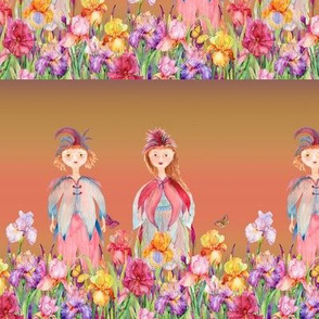 small STRIPES WOODLAND FAIRY ELVES IRISES FLOWERS CORAL MUSTARD watercolor