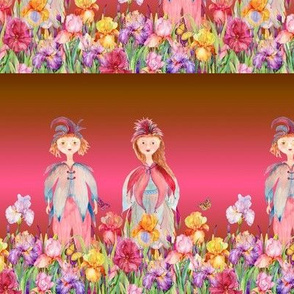small STRIPES WOODLAND FAIRY ELVES IRISES FLOWERS FUSHIA CARAMEL BROWN watercolor