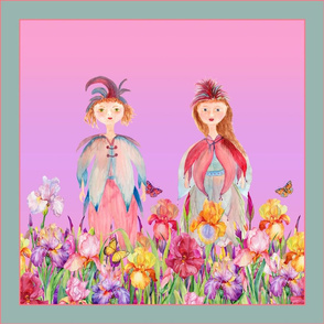 SQUARE PANEL WOODLAND FAIRY ELVES IRISES FLOWERS MAUVE PINK