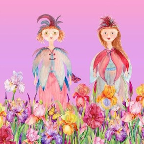 STRIPES WOODLAND FAIRY ELVES IRISES FLOWERS MAUVE PINK