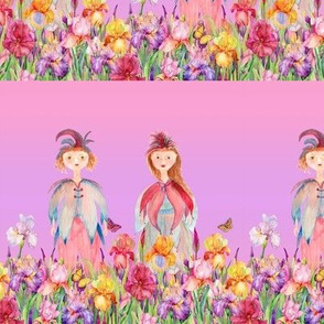 small STRIPES WOODLAND FAIRY ELVES IRISES FLOWERS MAUVE PINK