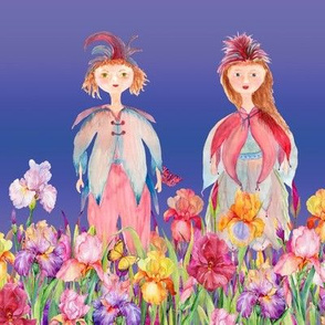 STRIPES WOODLAND FAIRY ELVES IRISES FLOWERS LAVENDER BLUE periwinkle watercolor