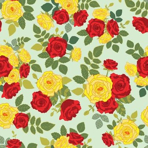 Red and Yellow Roses Bouquet seamless pattern