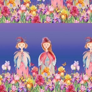 SMALL STRIPES WOODLAND FAIRY ELVES IRISES FLOWERS LAVENDER BLUE