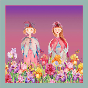 SQUARE PANEL WOODLAND FAIRY ELVES IRISES FLOWERS PINK CORAL VIOLET FLWRHT