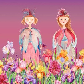 STRIPES WOODLAND FAIRY ELVES IRISES FLOWERS PINK CORAL VIOLET FLWRHT