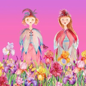 STRIPES WOODLAND FAIRY ELVES IRISES FLOWERS PINK PURPLE NEON watercolor