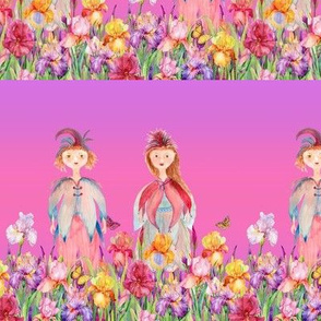 SMALL STRIPES WOODLAND FAIRY ELVES IRISES FLOWERS PINK PURPLE NEON watercolor