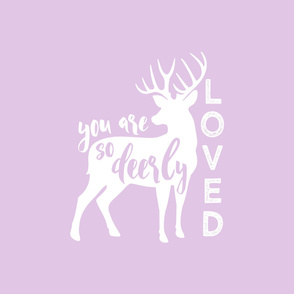 2 YARD CRIB SHEET - YOU ARE SO DEERLY LOVED -  Purple