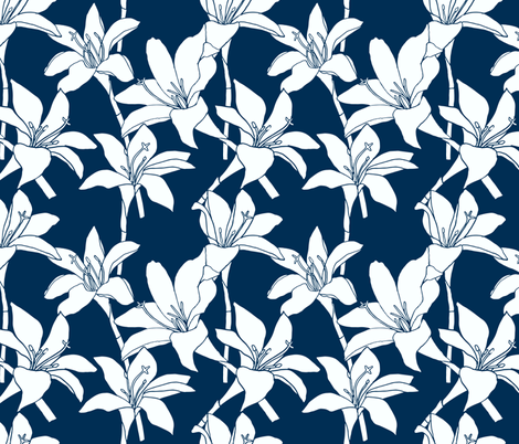 Amaryllis Floral Line Drawing, White on Midnight Blue fabric by kendrashedenhelm on Spoonflower - custom fabric