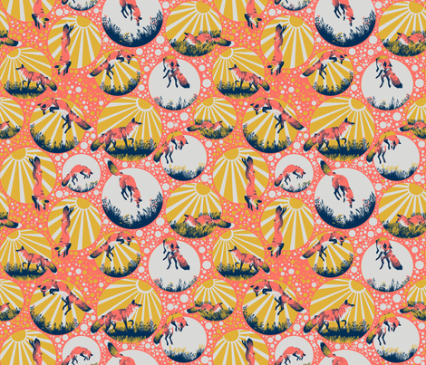 Jumping Foxes fabric by dilatorysloth on Spoonflower - custom fabric