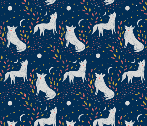 Moontime Wolves fabric by jacquelinehurd on Spoonflower - custom fabric